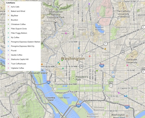 Map of DC coffee shops previously hounded or on the short list to be hounded.